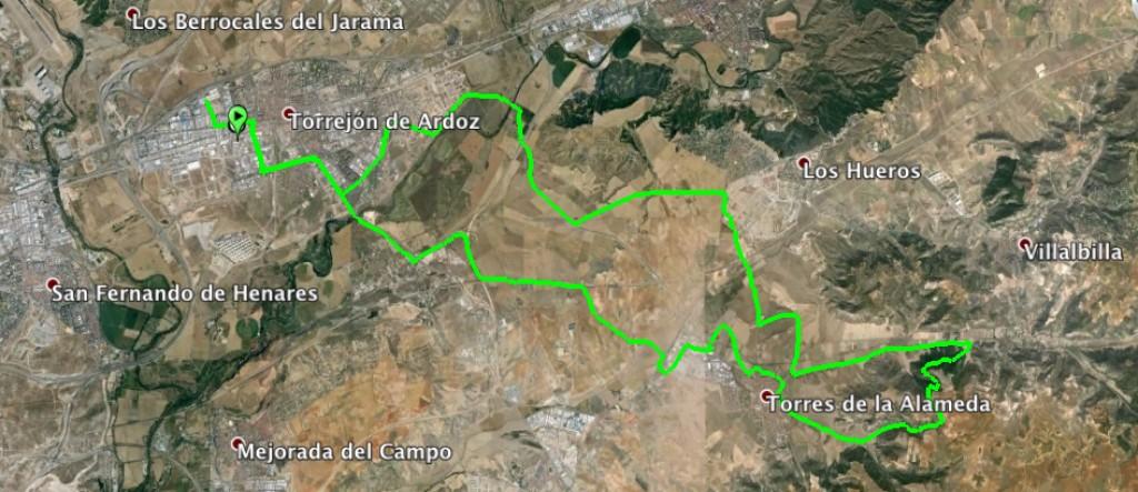 Mapa ruta btt nocturna bikestocks Madrid