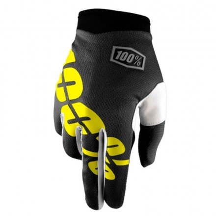 GUANTES 100% ITRACK (BLACK / NEON YELLOW)